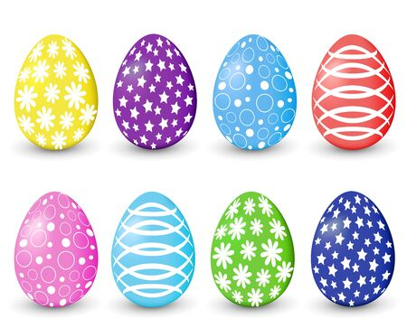 A set of colored Easter eggs