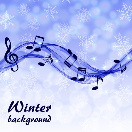 Abstract winter background with music notes and a treble clef
