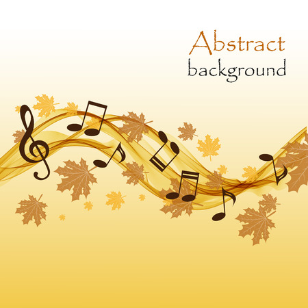 stave: Abstract autumn background with music notes and a treble clef Illustration
