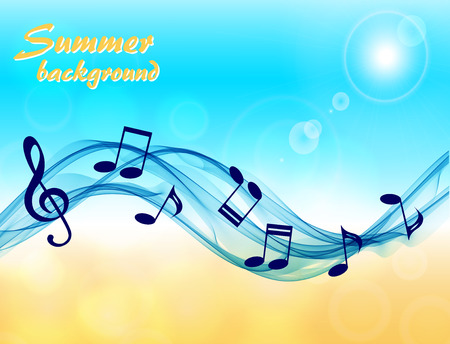 Abstract summer background with music notes and a treble clef