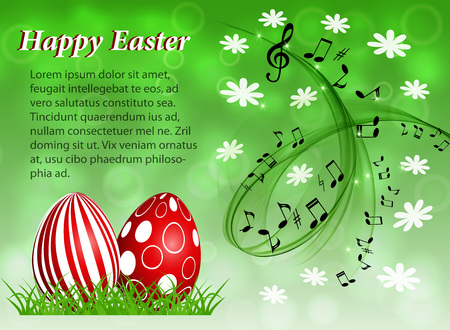 Abstract musical background with red Easter eggs