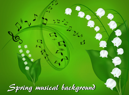 Abstract musical background with a bouquet of lilies of the valley