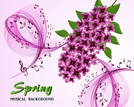 stave: Abstract musical background with a lilac branch Illustration