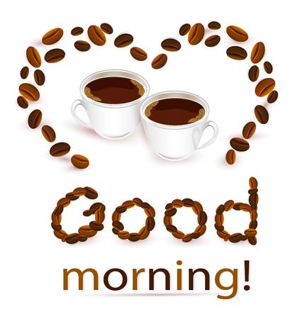 Abstracte achtergrond met koffiebonen en kopjes