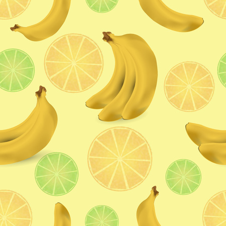 grapefruit juice: Pattern with citrus and bananas illustration.