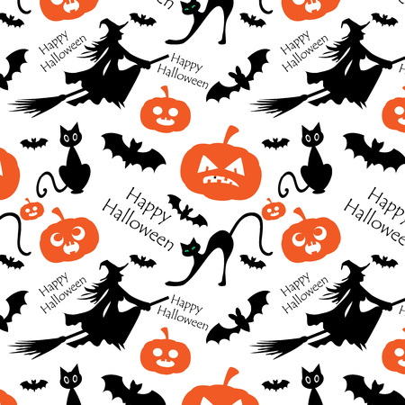 gray cat: Pattern for Halloween with witch, moon and bats Illustration