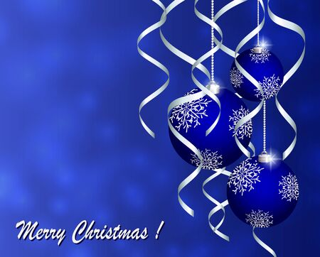 Christmas card with blue balls on a blue background 矢量图像
