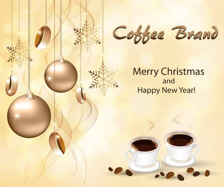 Christmas greeting card from coffee houses