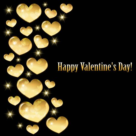 Greeting card for Valentine's day with golden hearts.