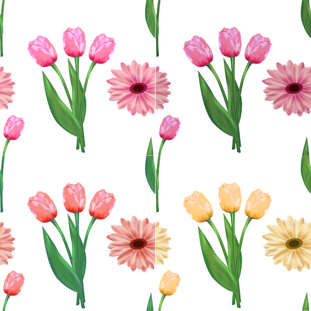 Seamless floral pattern with tulips and gerberas.