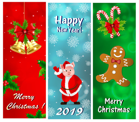 A set of greeting cards for the New Year and Christmas  イラスト・ベクター素材