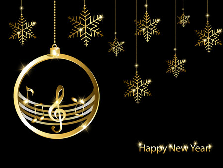 New year card with music background Иллюстрация