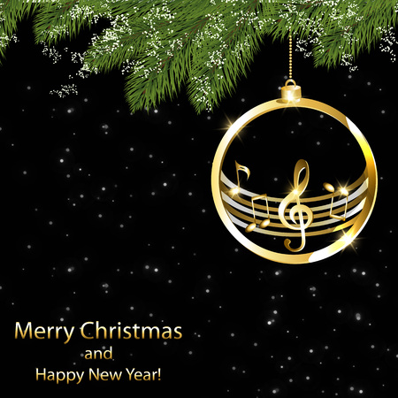 New year card with music background Vectores