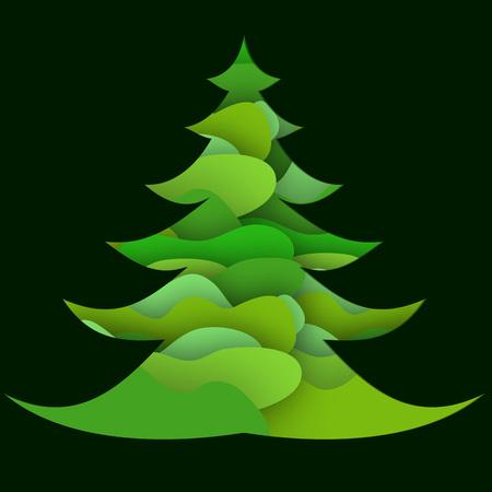 Christmas card with abstract Christmas tree 向量圖像