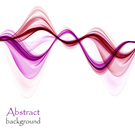 Abstract bright pink and purple waves on white background