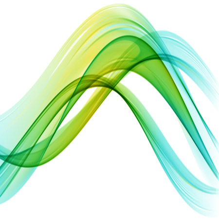 Abstract multicolored waves on white background