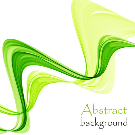Abstract green waves on white background
