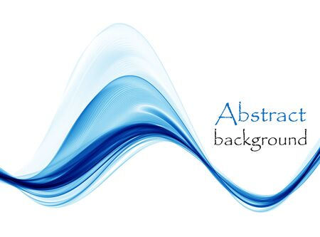 Abstract blue waves on white background Ilustrace