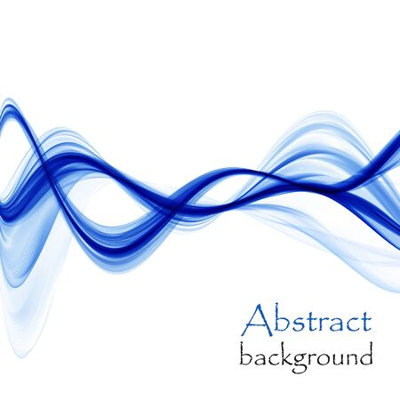 Bright blue abstract waves on a white background