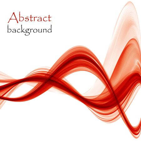 Bright red abstract waves on a white background