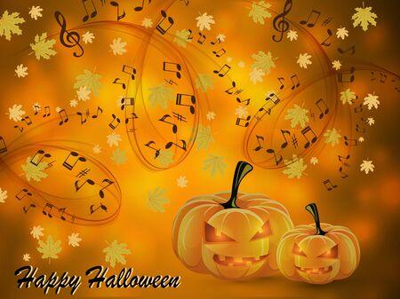 Halloween music card Ilustrace