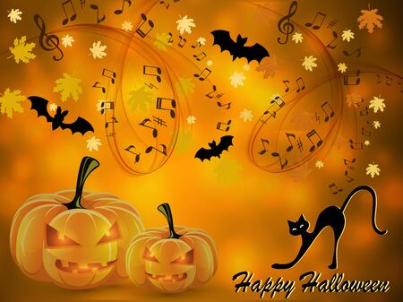 Halloween music card Vettoriali