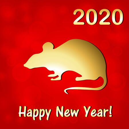 New Years card in the year of the rat Ilustrace