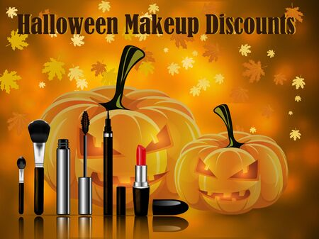 Sets of cosmetics on the background of leaf fall and pumpkins