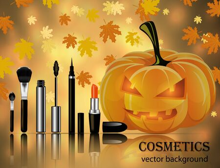Sets of cosmetics on the background of leaf fall and pumpkins Archivio Fotografico - 131399405