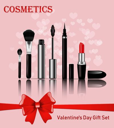 Sets of cosmetics on the background of hearts for Valentines Day Ilustracja