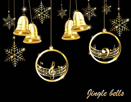 Christmas card with golden bells on a musical theme