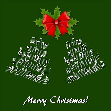 Musical theme Christmas card with holly