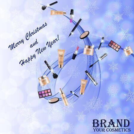 Christmas and New Year makeup kits Ilustrace