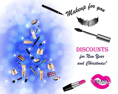 Christmas and New Year makeup kits Archivio Fotografico - 137235194