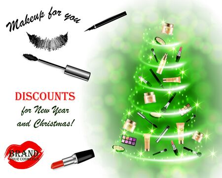 Christmas and New Year makeup kits Archivio Fotografico - 133241395
