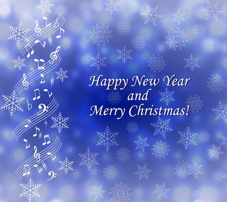 Musical theme Christmas card Vettoriali