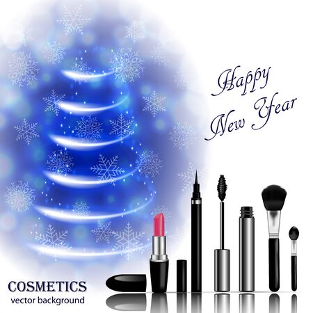 Christmas and New Year makeup kits Stock Illustratie