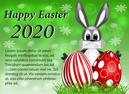 Greeting cards Happy Easter 2020 with a rabbit masked by COVID-19