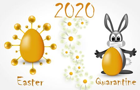Greeting card Happy Easter and Quarantine 2020