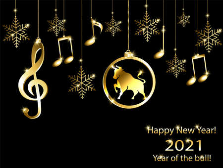 New year card in the year of the bull 2021