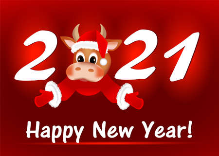 Happy new year card in the year of the bull Vettoriali