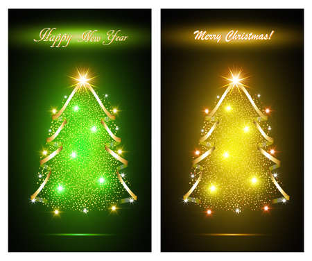 Happy new year card with abstract christmas tree Vettoriali