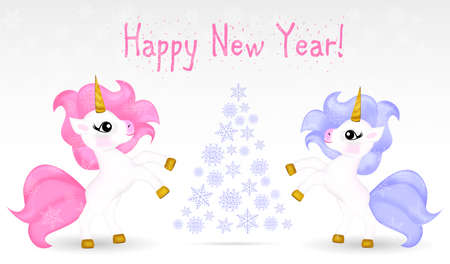 New year card with unicorn and abstract christmas tree