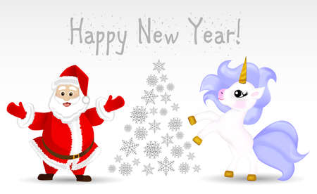 New year card with unicorn and santa claus and snowflakes