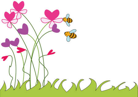 hearts and flowers: illustration of a background for text - bees on a flower bed
