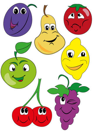 drawing funny fruit Vector
