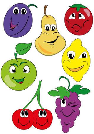 fruit stem: drawing funny fruit Illustration