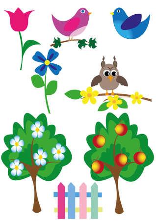 image icons of birds, trees, garden Vector