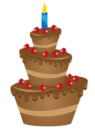 drawing of a large chocolate cake with cherries Vector