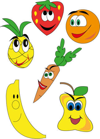 drawings of funny fruits and vegetables Иллюстрация